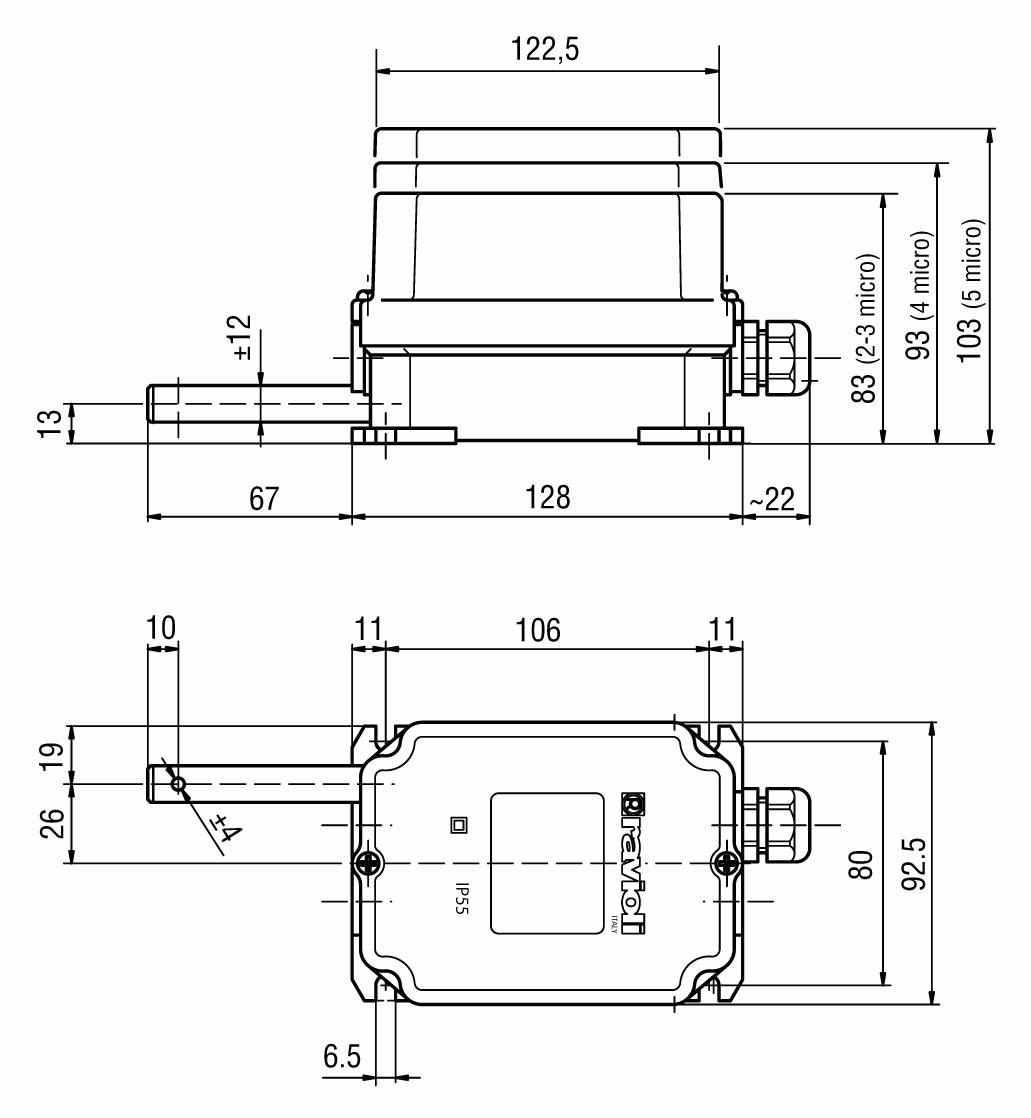 Fcn Series Rotary Limit Switch Schematic Dimensions